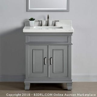 "Mission Hills 28"" Single Sink Middleton Vanity in Gray with Quartz Countertop (Retail $737.00)"