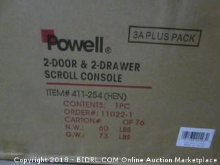 Powell 2-Door & 2-Drawer Scroll Console