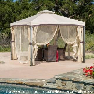 Great Deal Furniture 294930 Sonoma Outdoor Iron Gazebo Canopy Umbrella with Net Drapery (Beige) (Retail $324.00)