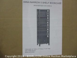 Anna Narrow 5 Shelf Bookcase