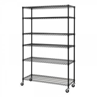 "Sandusky Lee MWS481874-B 6-Tier Wire Shelving Unit with 3"" Rubber Casters, 6 Wire Shelves, Black, 74"" Height x 48"" Width x 18"" Depth (Retail $101.00)"
