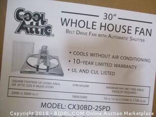 Cool Attic CX30BD2SPD Belt Drive 2-Speed Whole House Fan with Shutter, Exhaust Fan, 30-Inch (Retail $333.00)