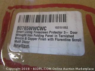 Smart Living Firescreen Protector 3-Door Wrought Iron folding Panel